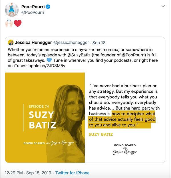 Poo-Pourri utilizza i social media per aumentare la reputazione del marchio.