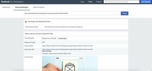 "Lo strumento debugger di Facebook mostra avvisi ed errori in post. ""Width ="" 600 ""style ="" width: 600px; blocco di visualizzazione; margine: 0px auto; ""srcset ="" https://blog.hubspot.com/hs-fs/hubfs/HubSpots%205-Step%20Process%20to%20Fix%20Images%20With%20Facebook%20Debugger-4.jpeg?width = 300 e nome = HubSpots% 205-Step% 20Process% 20to% 20Fix% 20Immagini% 20Con% 20Facebook% 20Debugger-4.jpeg 300w, https://blog.hubspot.com/hs-fs/hubfs/HubSpots%205-Step% 20Processo% 20to% 20Fisso% 20Immagini% 20Con% 20Facebook% 20Debugger-4.jpeg? Larghezza = 600 e nome = HubSpots% 205-Step% 20Processo% 20to% 20Fisso% 20Immagini% 20Con% 20Facebook% 20Debugger-4.jpeg 600w, https / /blog.hubspot.com/hs-fs/hubfs/HubSpots%205-Step%20Process%20to%20Fix%20Images%20With%20Facebook%20Debugger-4.jpeg?width=900&name=HubSpots%205-Step%20Process%20to % 20Fix% 20Images% 20Con% 20Facebook% 20Debugger-4.jpeg 900w, https://blog.hubspot.com/hs-fs/hubfs/HubSpots%205-Step%20Process%20to%20Fix%20Images%20With%20Facebook% 20Debugger-4.jpeg? Width = 1200 & name = HubSpots% 205-Step% 20Process% 20to% 20Fix% 20Images% 20With% 20Facebook% 20Debugger-4.jpeg 1200w, https://blog.hubspot.com/hs-fs/hubfs / HubSpots% 205-step% 20Process% 20 a% 20Fix% 20Immagini% 20Con% 20Facebook% 20Debugger-4.jpeg? larghezza = 1500 & nome = HubSpots% 205-Step% 20Processo% 20to% 20Fix% 20Images% 20With% 20Facebook% 20Debugger-4.jpeg 1500w, https: // blog .hubspot.com / HS-fs / hubfs / HubSpots% 205-step% 20Process% 20to% 20Fix% 20Images% 20With% 20Facebook% 20Debugger-4.jpeg? width = 1800 & name = HubSpots% 205-step% 20Process% 20to% 20Fix % 20Immagini% 20Con% 20Facebook% 20Debugger-4.jpeg 1800w ""dimensioni ="" (larghezza massima: 600px) 100vw, 600px"