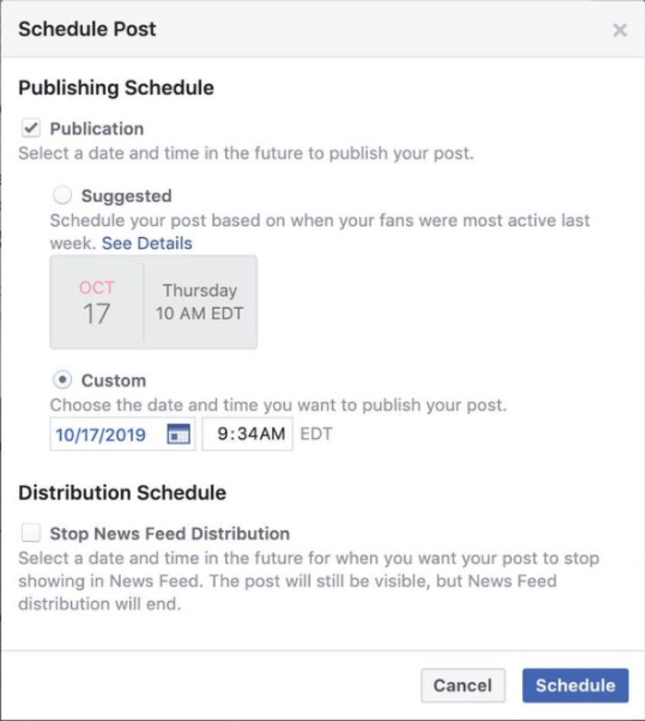 Modifiche alla pianificazione di Facebook