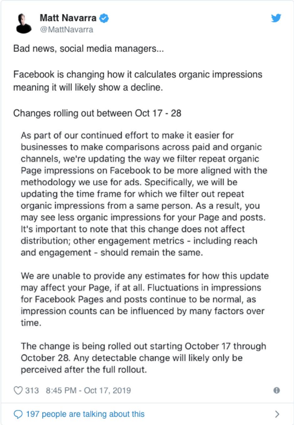 Modifiche alla copertura organica di Facebook