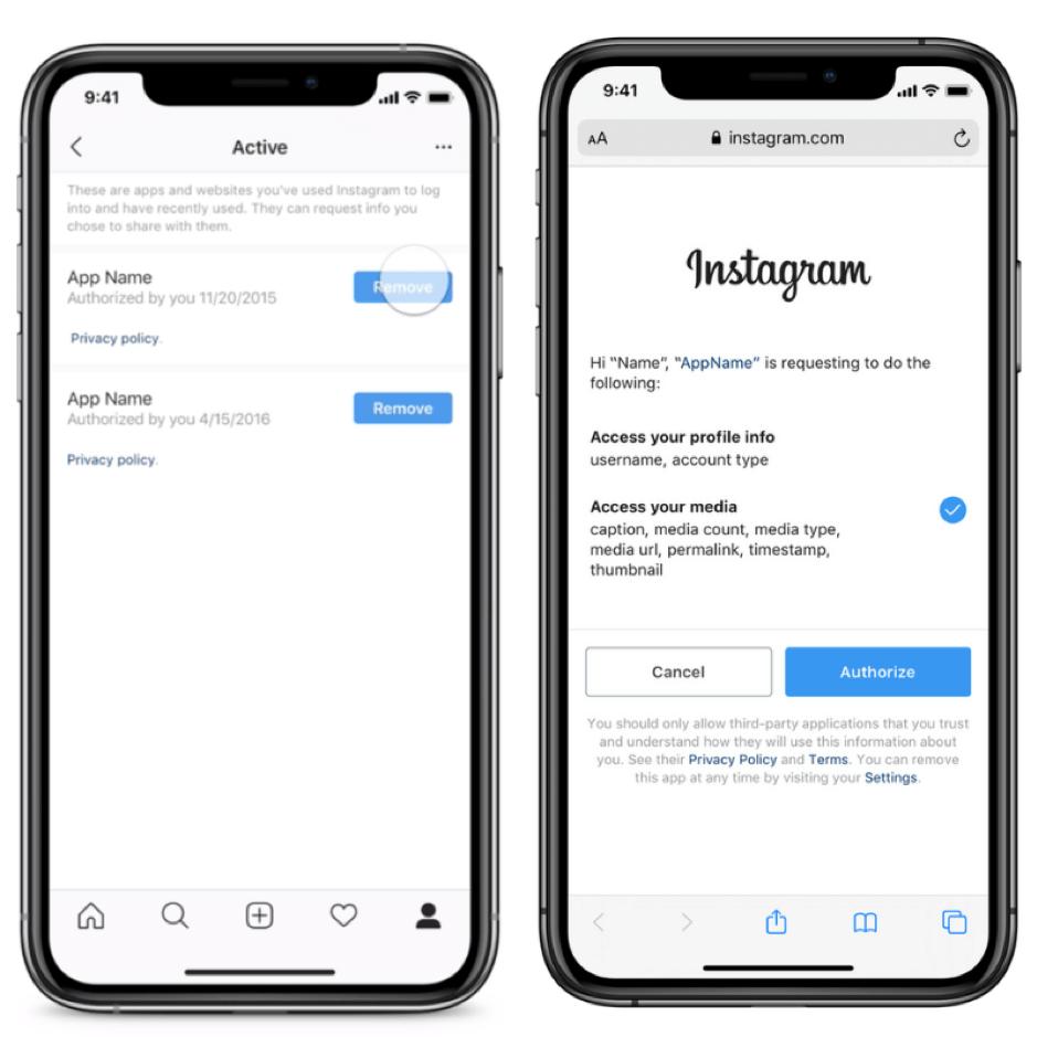 Modifiche alle autorizzazioni di terze parti di Instagram