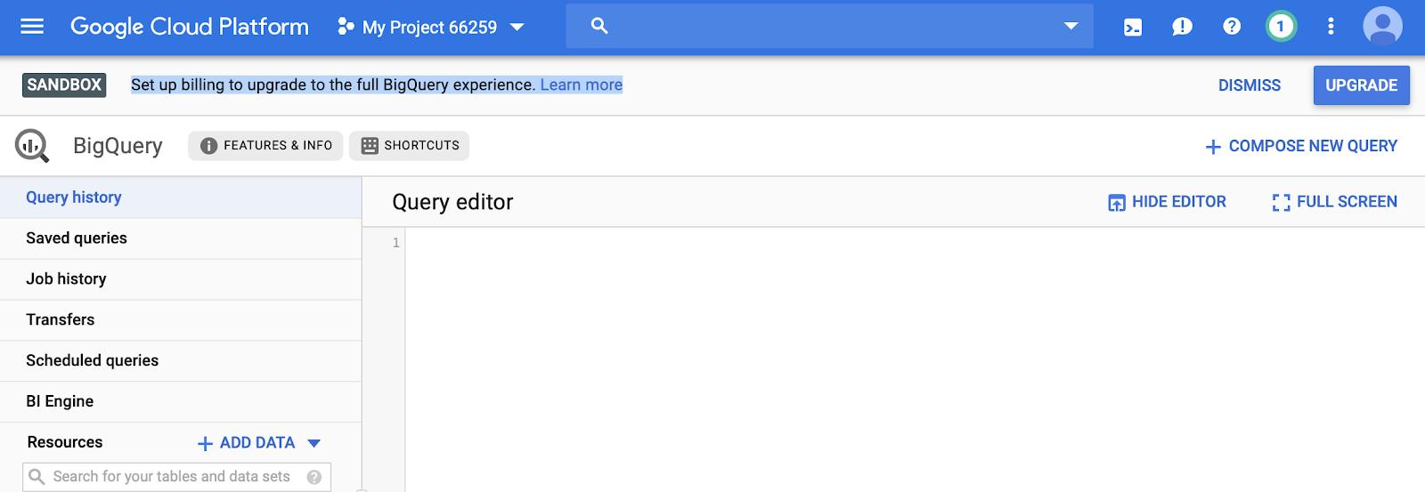 editor di query in google bigquery.