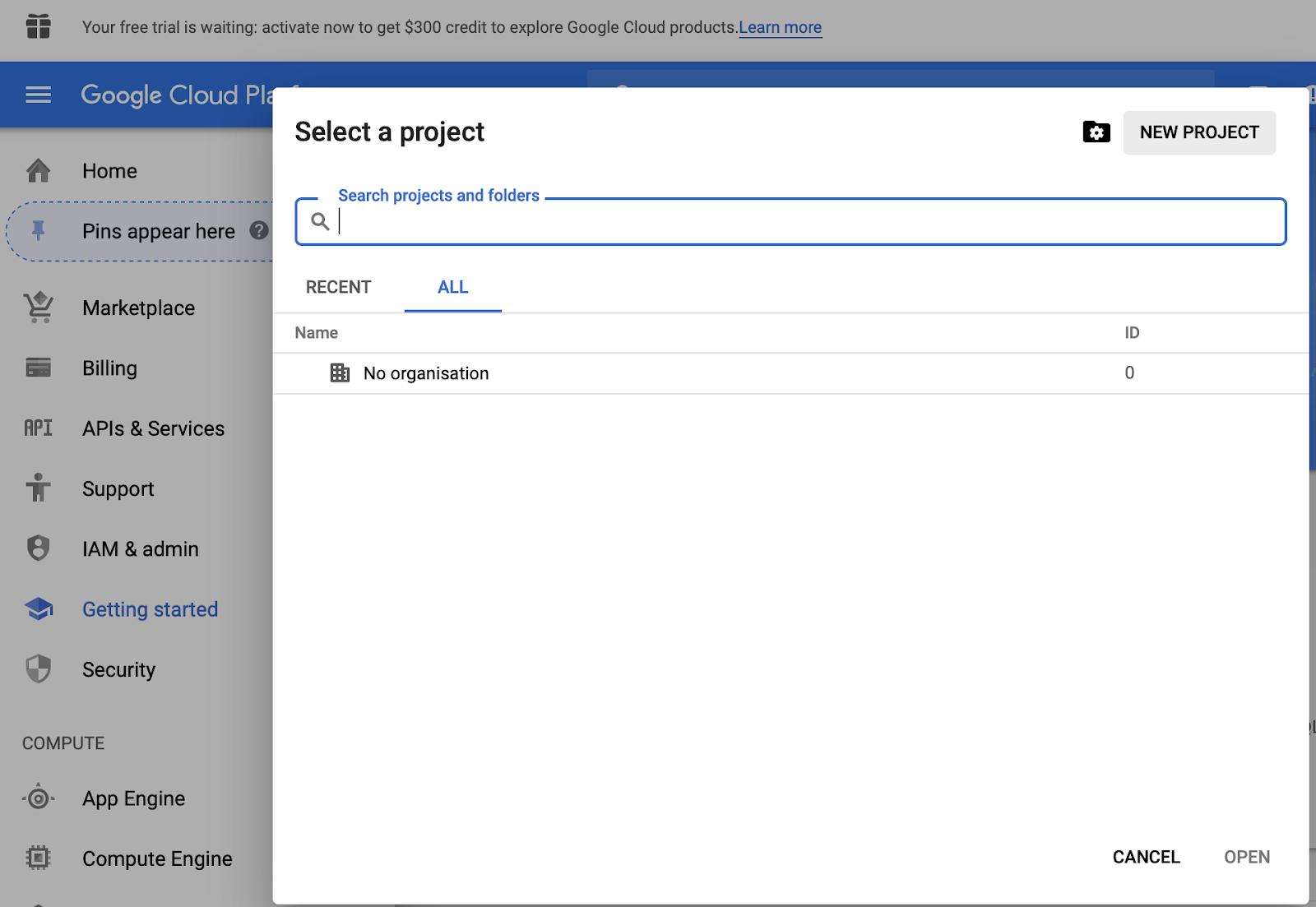 schermata di selezione del progetto all'interno di Google bigquery.