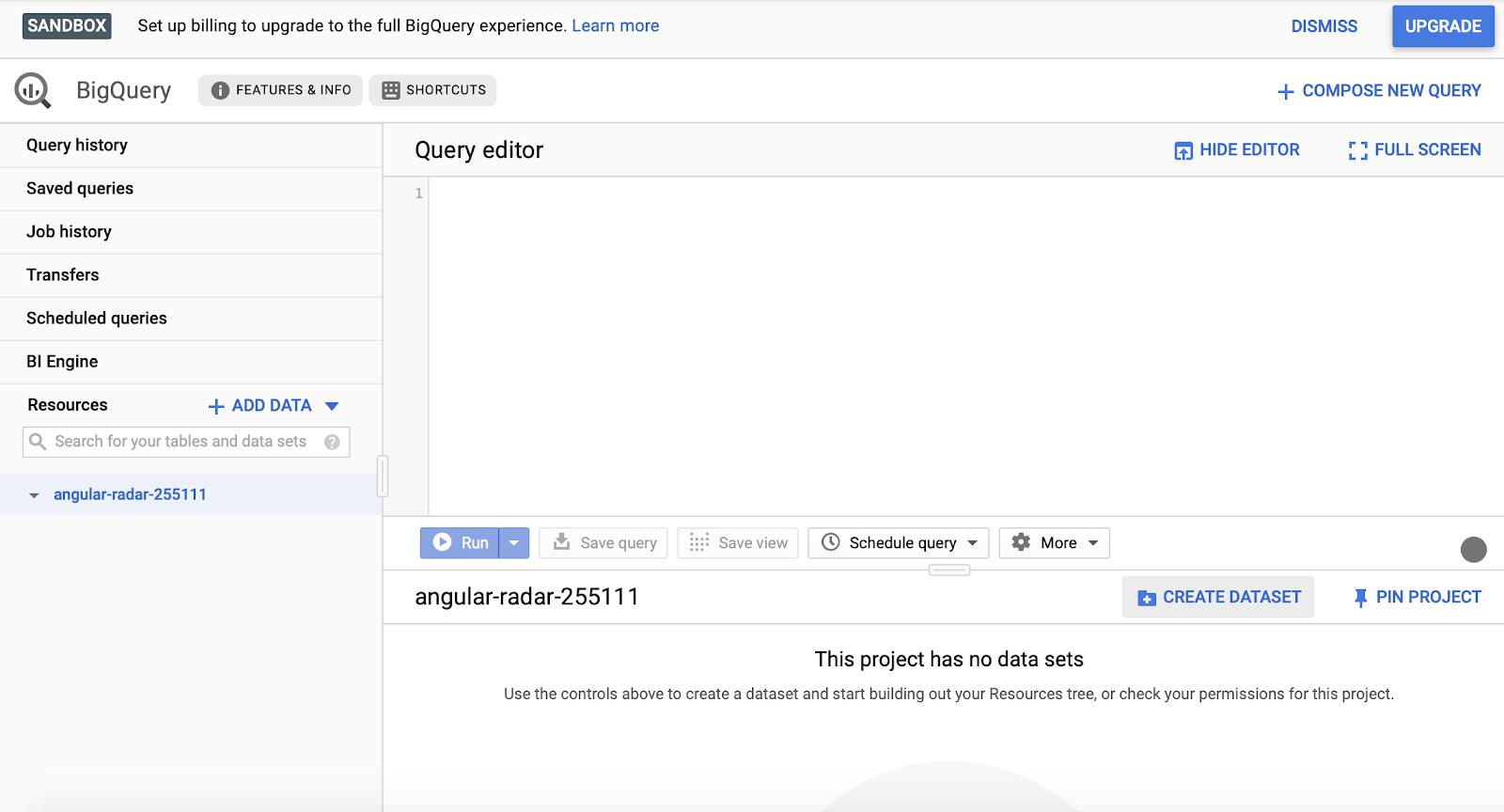 creazione di set di dati in Google bigquery.