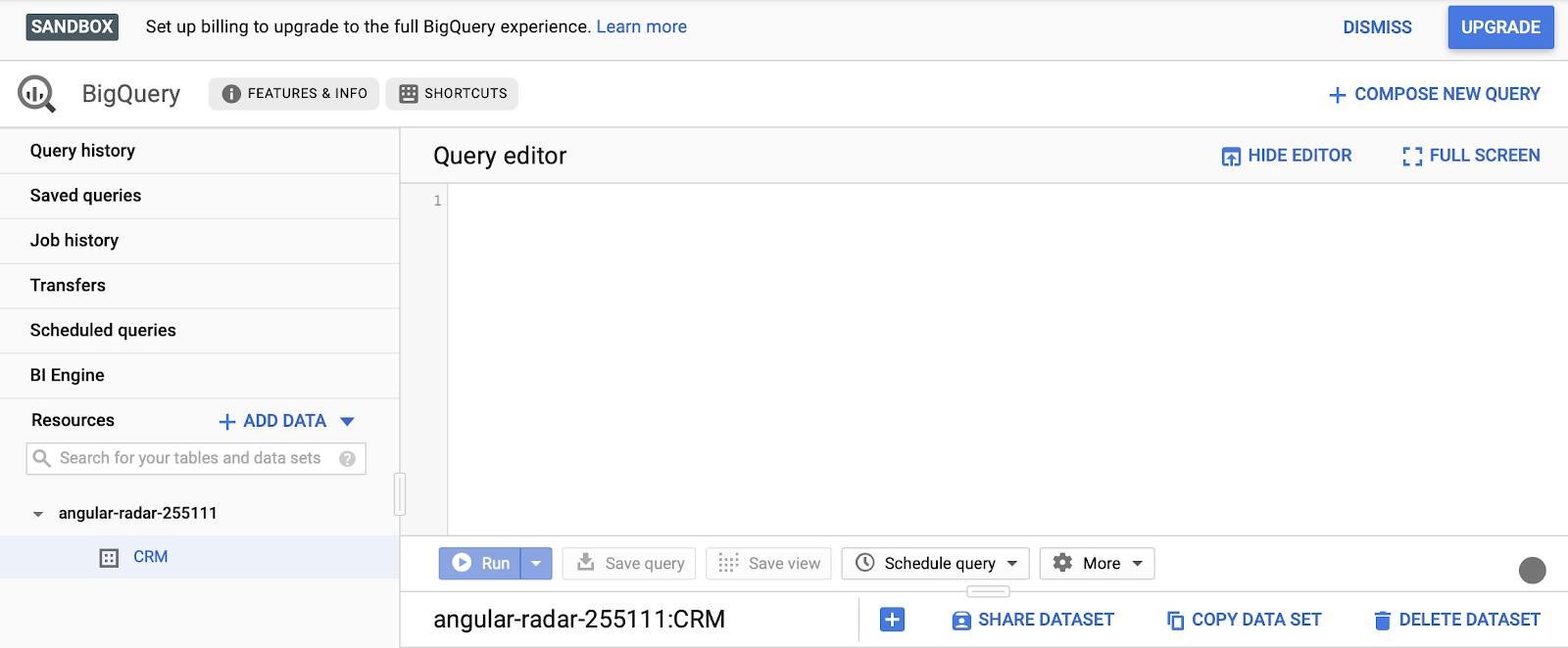 editor di query in bigquery.