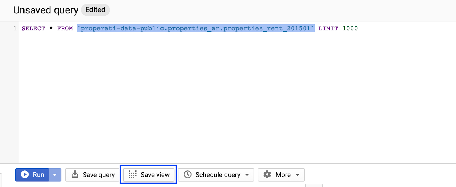 """query di esempio all'interno di bigquery. """"width ="""" 500"""