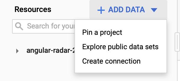 """aggiungi dati al progetto bigquery. """"width ="""" 400"""