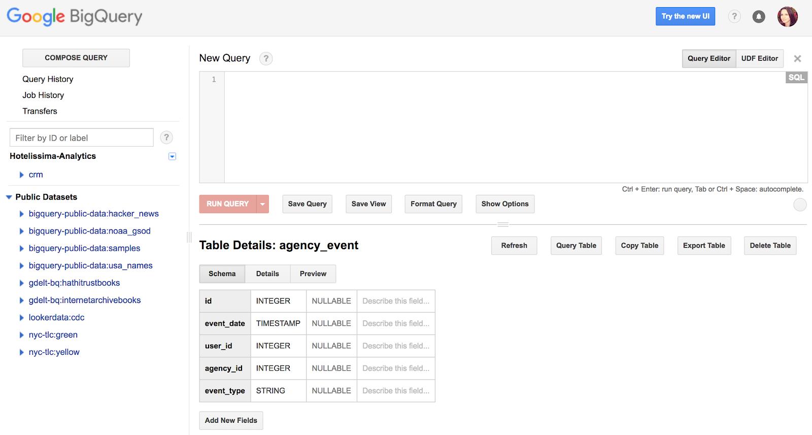 dettagli della tabella e query.