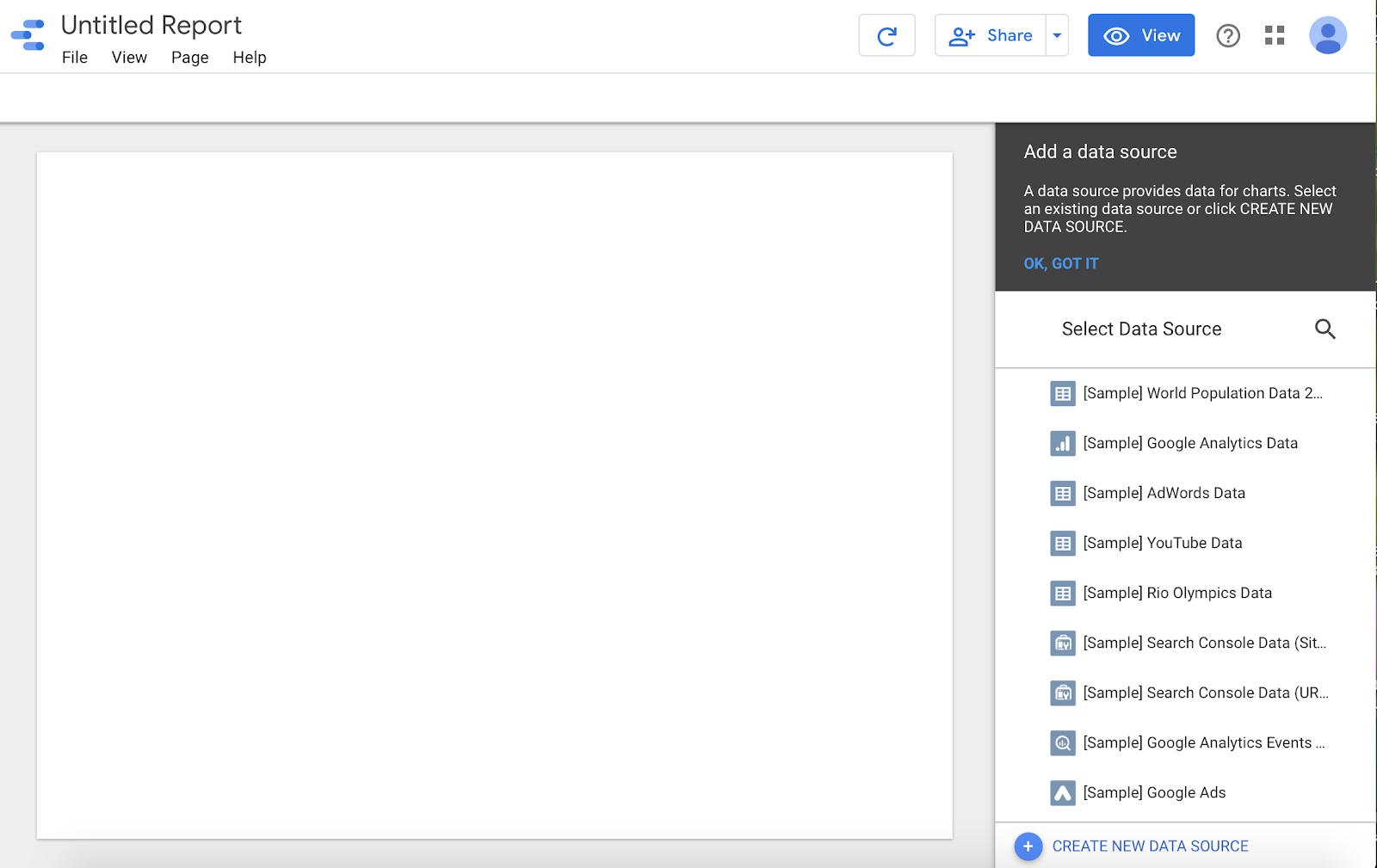 nuova interfaccia di report in data studio.