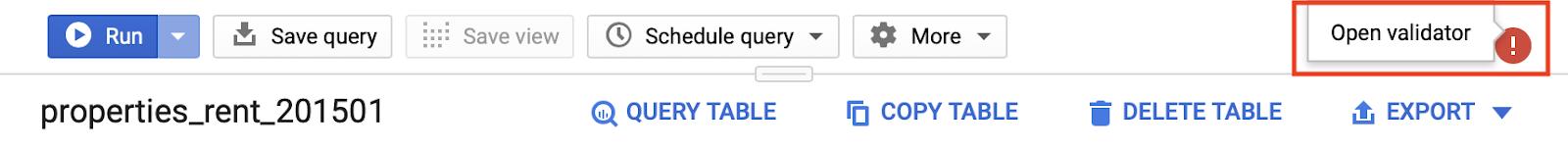 problema di convalida della query in bigquery.