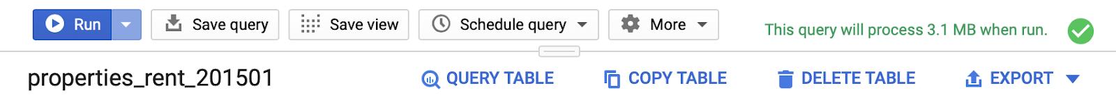 validazione query ok in bigquery.
