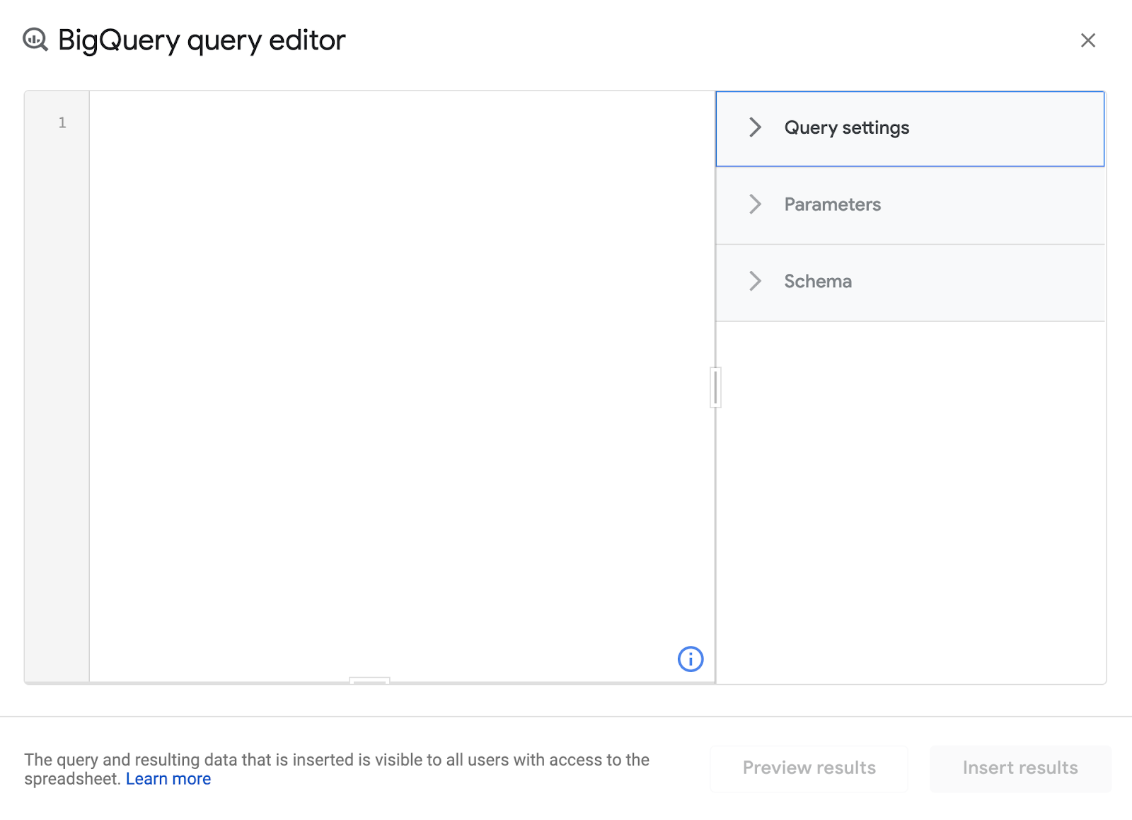 """editor di bigquery. """"width ="""" 450"""