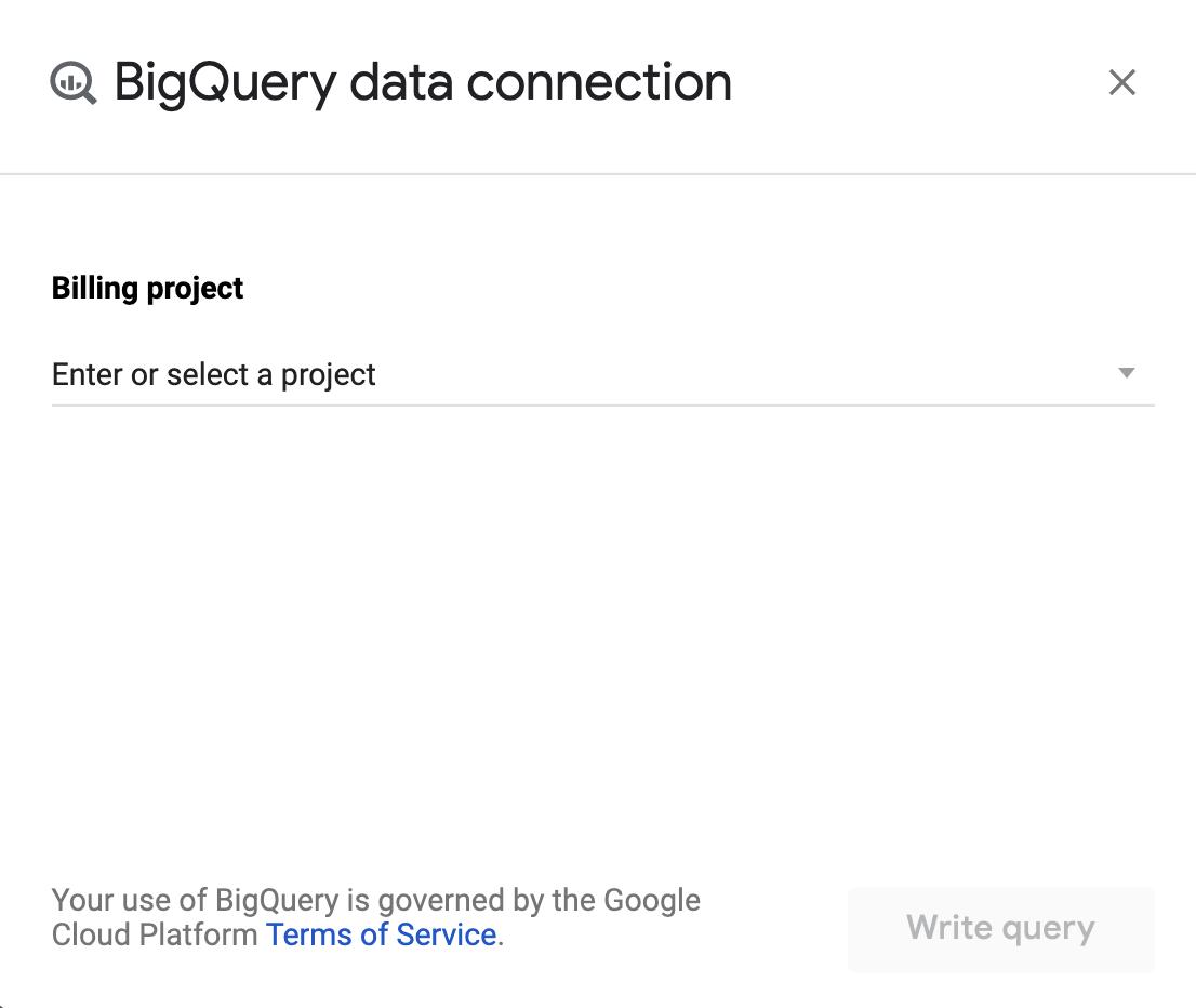 "connessione dati bigquery. ""width ="" 300"