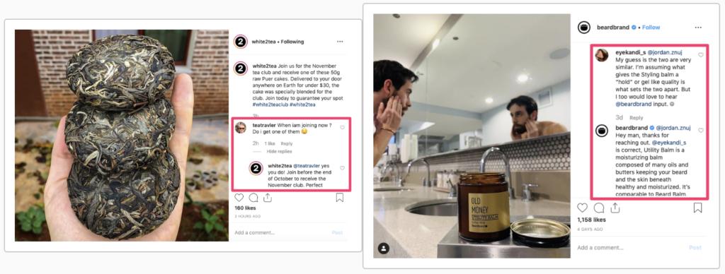 Esempio di sezione commenti Instagram con Conversazione.