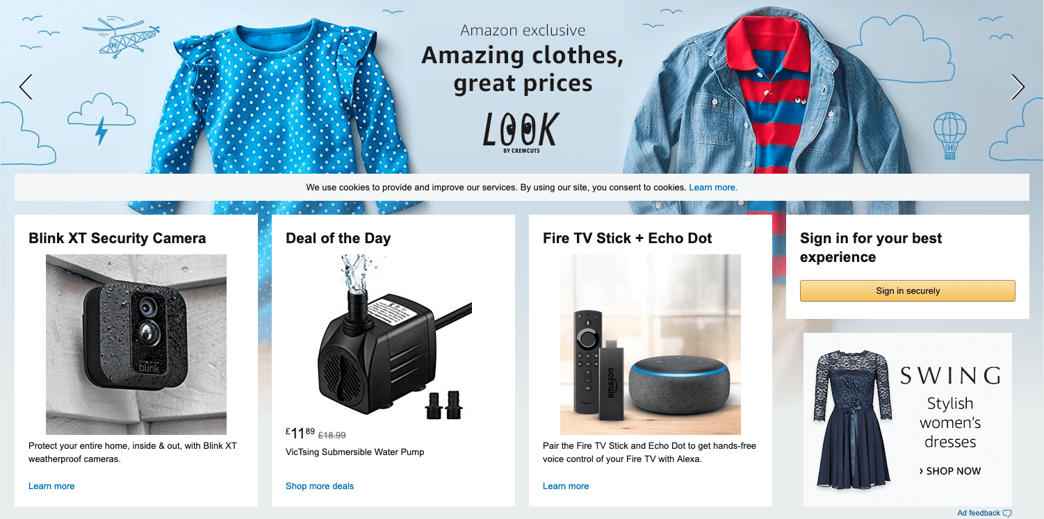 "Homepage di Amazon ""larghezza ="" 1502 ""height ="" 747 ""srcset ="" https://www.smartinsights.com/wp-content/uploads/2019/07/Screenshot-2019-07-19-at-10.17.19. png 1502w, https://www.smartinsights.com/wp-content/uploads/2019/07/Screenshot-2019-07-19-at-10.17.19-150x75.png 150w, https: //www.smartinsights. com / wp-content / uploads / 2019/07 / Screenshot-2019-07-19-at-10.17.19-550x274.png 550w, https://www.smartinsights.com/wp-content/uploads/2019/07 /Screenshot-2019-07-19-at-10.17.19-768x382.png 768w, https://www.smartinsights.com/wp-content/uploads/2019/07/Screenshot-2019-07-19-at- 10.17.19-700x348.png 700w, https://www.smartinsights.com/wp-content/uploads/2019/07/Screenshot-2019-07-19-at-10.17.19-250x124.png 250w ""dimensioni = ""(larghezza massima: 1502px) 100vw, 1502px"