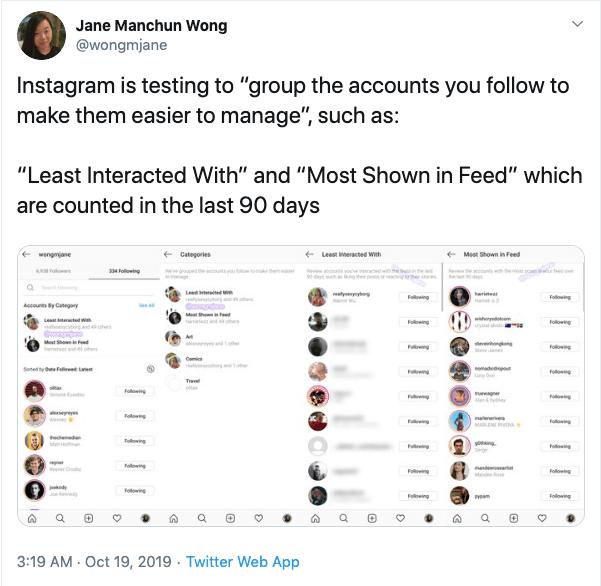 "Jane Manchun Wong Instagram nw tweet ""width ="" 601 ""height ="" 586 ""srcset ="" https://www.smartinsights.com/wp-content/uploads/2019/10/Jane-Manchun-Wong-Instagram-nw -feature-tweet.png 601w, https://www.smartinsights.com/wp-content/uploads/2019/10/Jane-Manchun-Wong-Instagram-nw-feature-tweet-150x146.png 150w, https: / /www.smartinsights.com/wp-content/uploads/2019/10/Jane-Manchun-Wong-Instagram-nw-feature-tweet-550x536.png 550w, https://www.smartinsights.com/wp-content/ uploads / 2019/10 / Jane-Manchun-Wong-Instagram-nw-feature-tweet-250x244.png 250w ""dimensioni ="" (larghezza massima: 601px) 100vw, 601px"