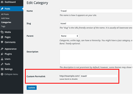 Dove creare un permalink personalizzato su WordPress