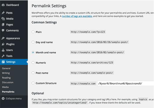 Permalink Impostazioni in WordPress