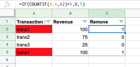 """rimozione di transazioni duplicate dai dati del foglio di calcolo. """"width ="""" 400"""