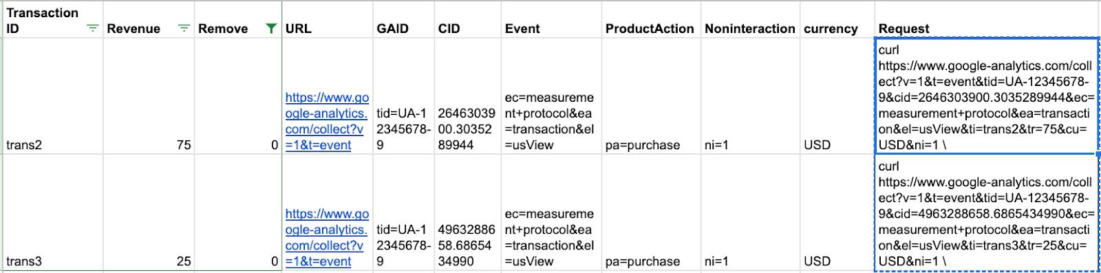 foglio di calcolo con i dati della richiesta di arricciatura per il caricamento del protocollo di misurazione.