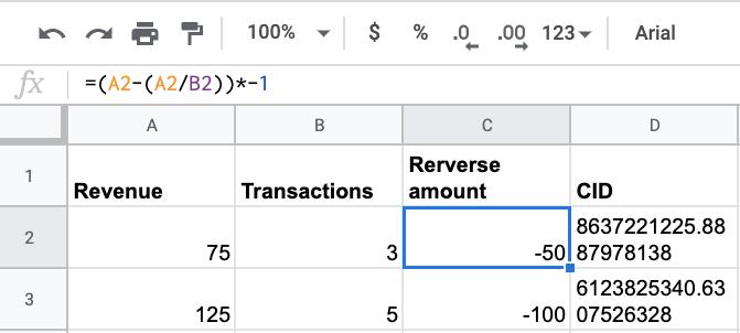 """esempio di come aggiungere i dati di rimborso a un foglio di calcolo. """"width ="""" 503 """"height ="""" 227"""