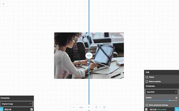 Compressione di un'immagine del blog per l'ottimizzazione SEO con Squoosh.app