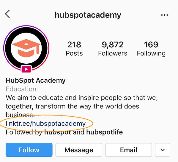 hubspot academy conversioni instagram linktree link in bio-2