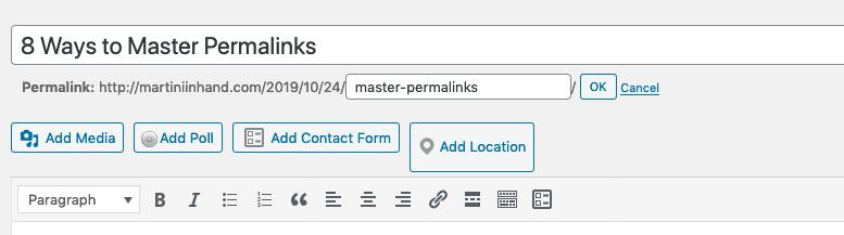 La sezione permalink sulla pagina dei post di WordPress.