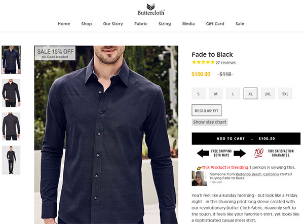 Abbigliamento di tela cerata sul loro sito web