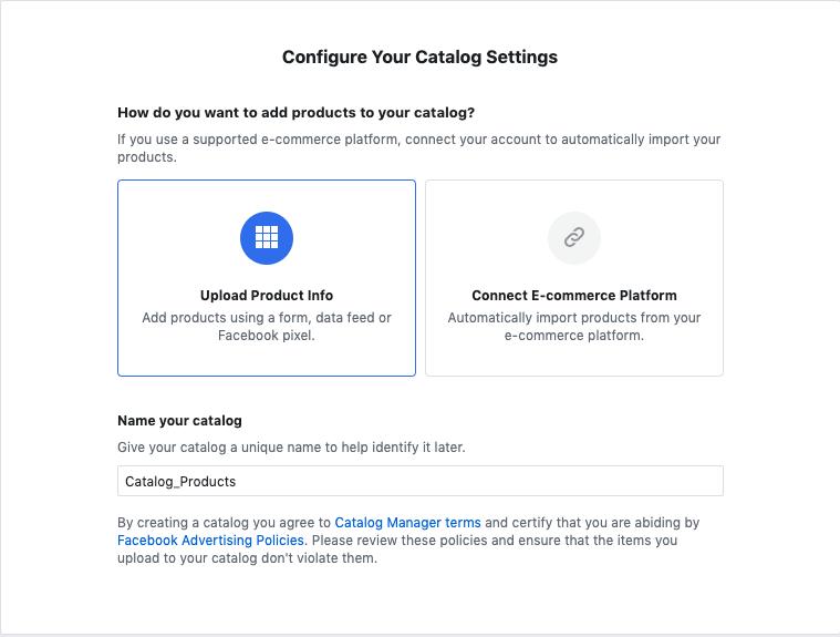 Uno screenshot di come configurare le impostazioni del catalogo Shopping.