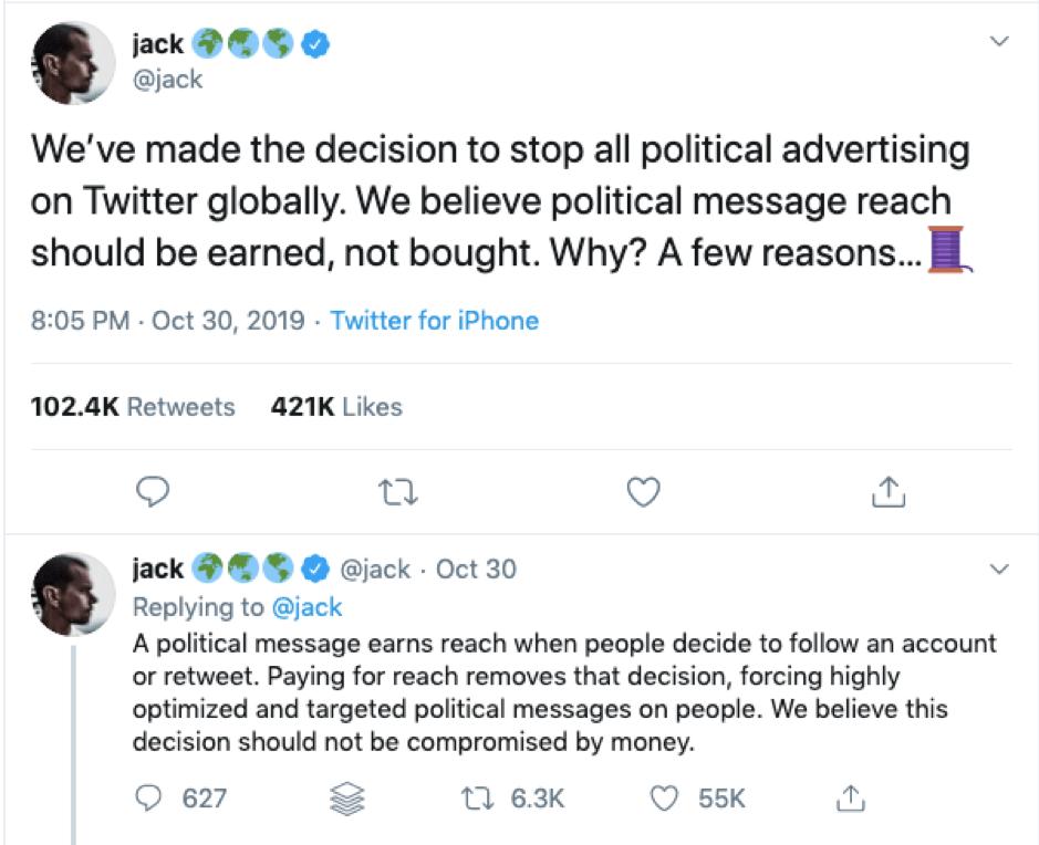 "Twitter vieta la pubblicità politica ""width ="" 939 ""height ="" 764 ""srcset ="" https://megamarketing.it/wp-content/uploads/2019/11/1572617227_992_Notizie-Roundup-1-novembre-2019.png 939w, https : //www.smartinsights.com/wp-content/uploads/2019/11/Twitter-bans-political-advertising-150x122.png 150w, https://www.smartinsights.com/wp-content/uploads/2019/ 11 / Twitter-bans-politico-pubblicità-550x447.png 550w, https://www.smartinsights.com/wp-content/uploads/2019/11/Twitter-bans-political-advertising-768x625.png 768w, https: //www.smartinsights.com/wp-content/uploads/2019/11/Twitter-bans-political-advertising-700x570.png 700w, https://www.smartinsights.com/wp-content/uploads/2019/11 /Twitter-bans-political-advertising-250x203.png 250w ""dimensioni ="" (larghezza massima: 939px) 100vw, 939px"