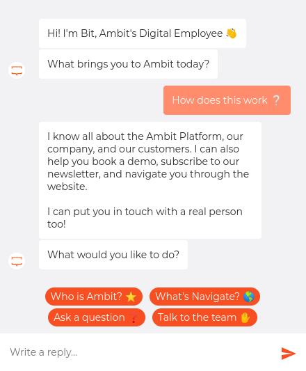 chat di esempio dall'ambizione.