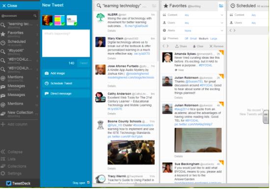 Esempio di dsahboard di tweetdeck