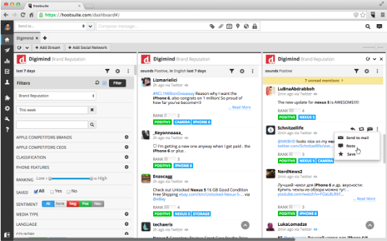 esempio di dashboard di hootsuite