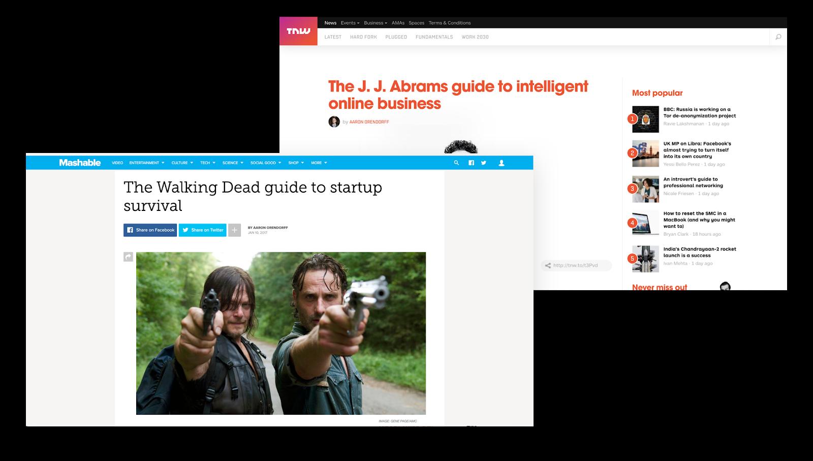 Post degli ospiti di Aaron Orendorff per Mashable e The Next Web