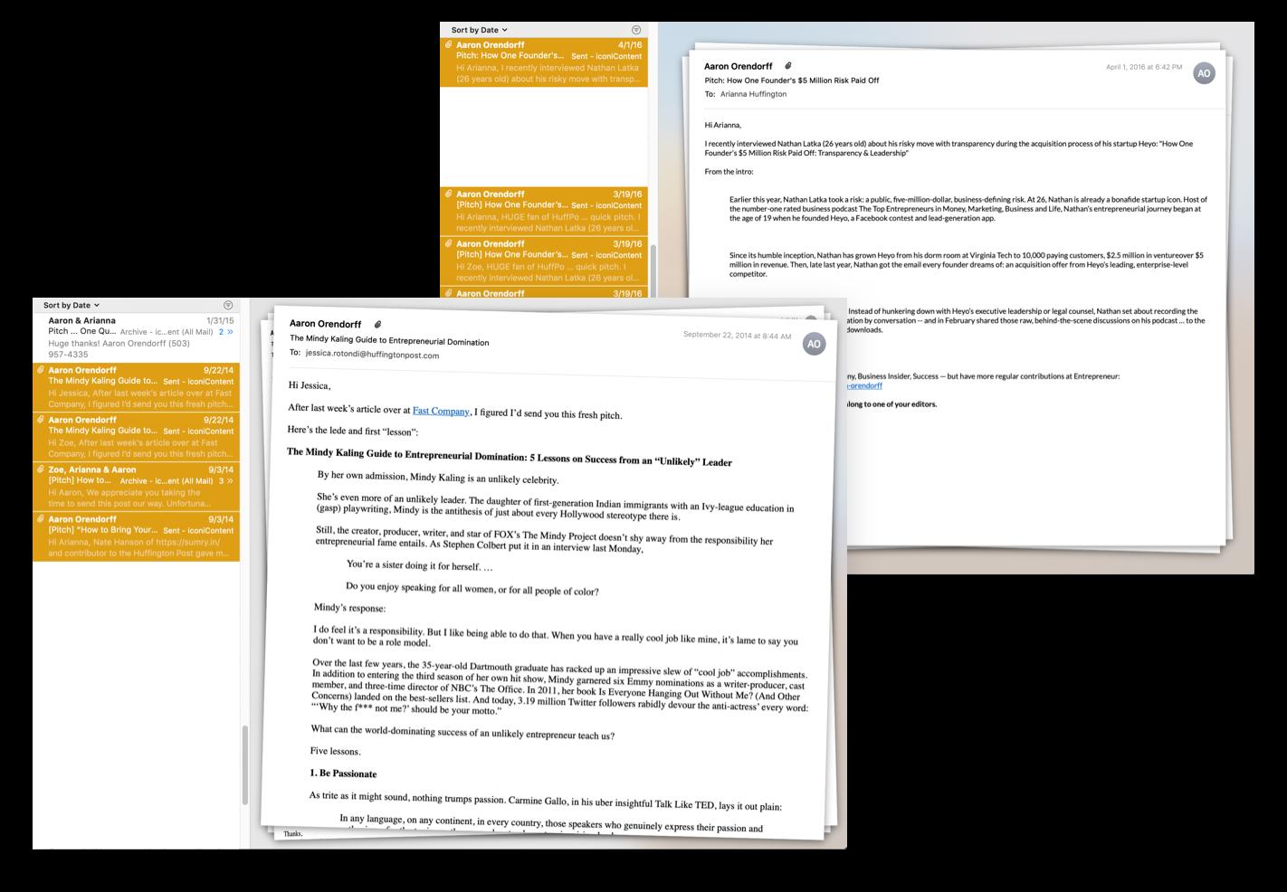 Varie email di presentazione degli ospiti inviate agli editori dell'Huffington Post