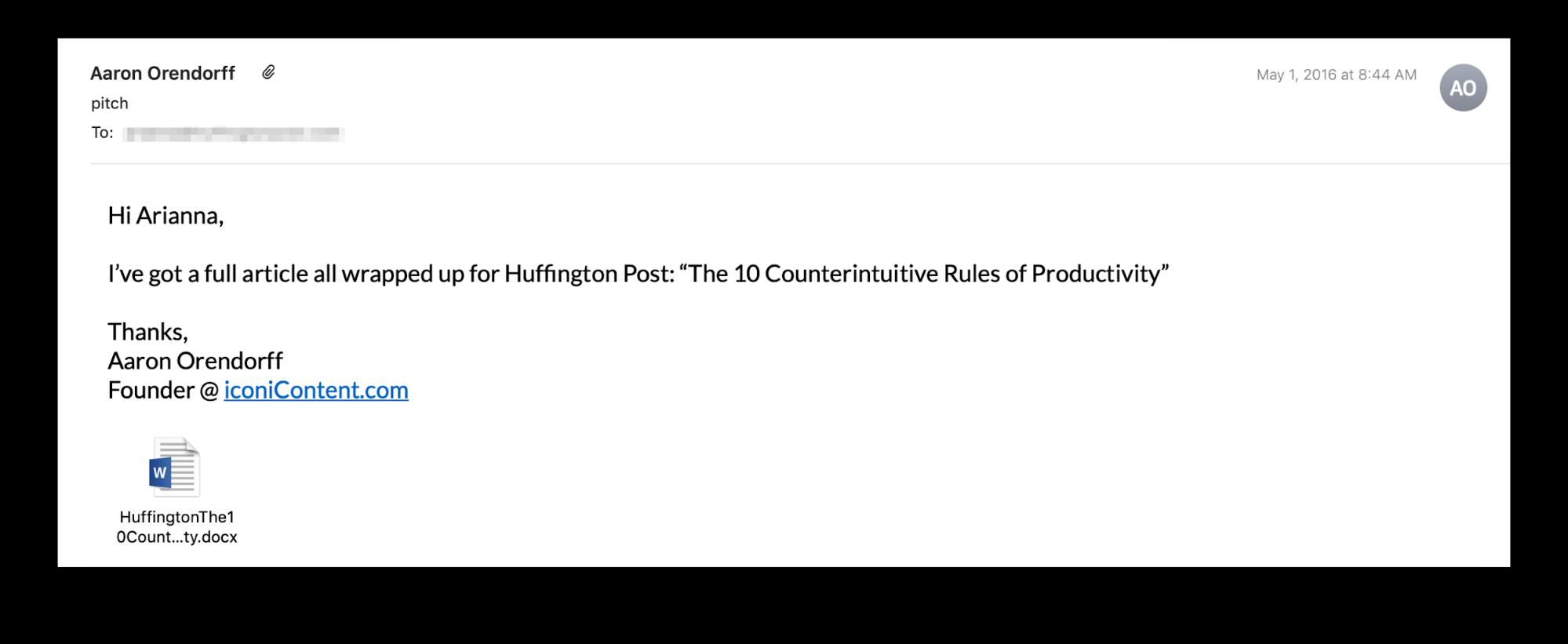 """Email di presentazione post inviata correttamente da un ospite ad Arianna Huffington """"class ="""" wp-image-24672 """"srcset ="""" https://megamarketing.it/wp-content/uploads/2019/11/1574357914_920_Come-sfondare-come-guest-blogger-anche-se-non-sei-uno-scrittore.png 1999w, https : //copyhackers.com/wp-content/uploads/2019/11/email-example-aaron3-150x62.png 150w, https://copyhackers.com/wp-content/uploads/2019/11/email-example- aaron3-300x123.png 300w, https://copyhackers.com/wp-content/uploads/2019/11/email-example-aaron3-768x315.png 768w, https://copyhackers.com/wp-content/uploads/ 2019/11 / email-esempio-aaron3-800x329.png 800w, https://copyhackers.com/wp-content/uploads/2019/11/email-example-aaron3-990x407.png 990w, https: // copyhackers. com / wp-content / uploads / 2019/11 / email-example-aaron3-1320x542.png 1320w """"dimensioni ="""" (larghezza massima: 1999px) 100vw, 1999px"""