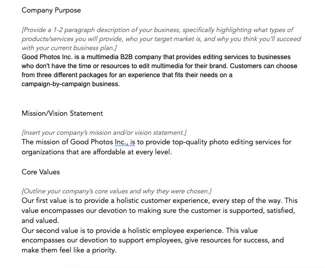 Esempio di descrizione dell'azienda