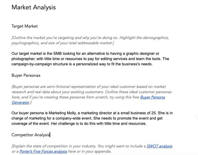 Esempio di analisi di mercato