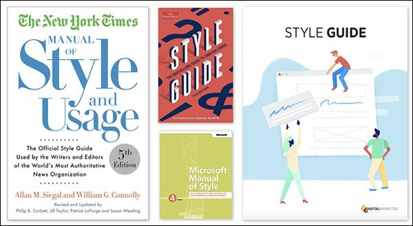 Esempi di guide di stile di The New York Times, Microsoft e DigitalMarketer