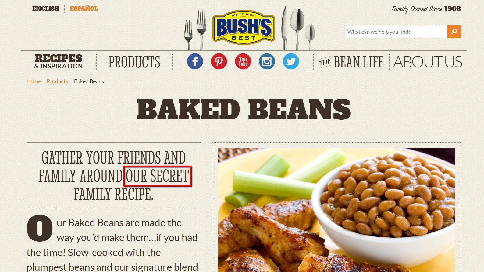 i fagioli al forno di bush promuovono la loro ricetta segreta sulla loro homepage.