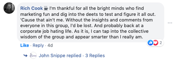 Rich Cook scrive un commento su Facebook parlando di quanto sia grato per le menti brillanti che trovano divertente il marketing
