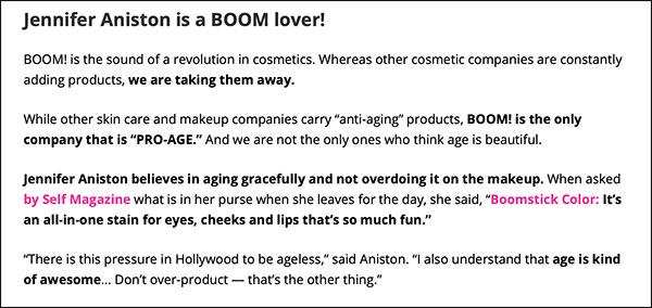 Esempio di un articolo pre-vendita che guida le conversioni utilizzando un'approvazione di celebrità