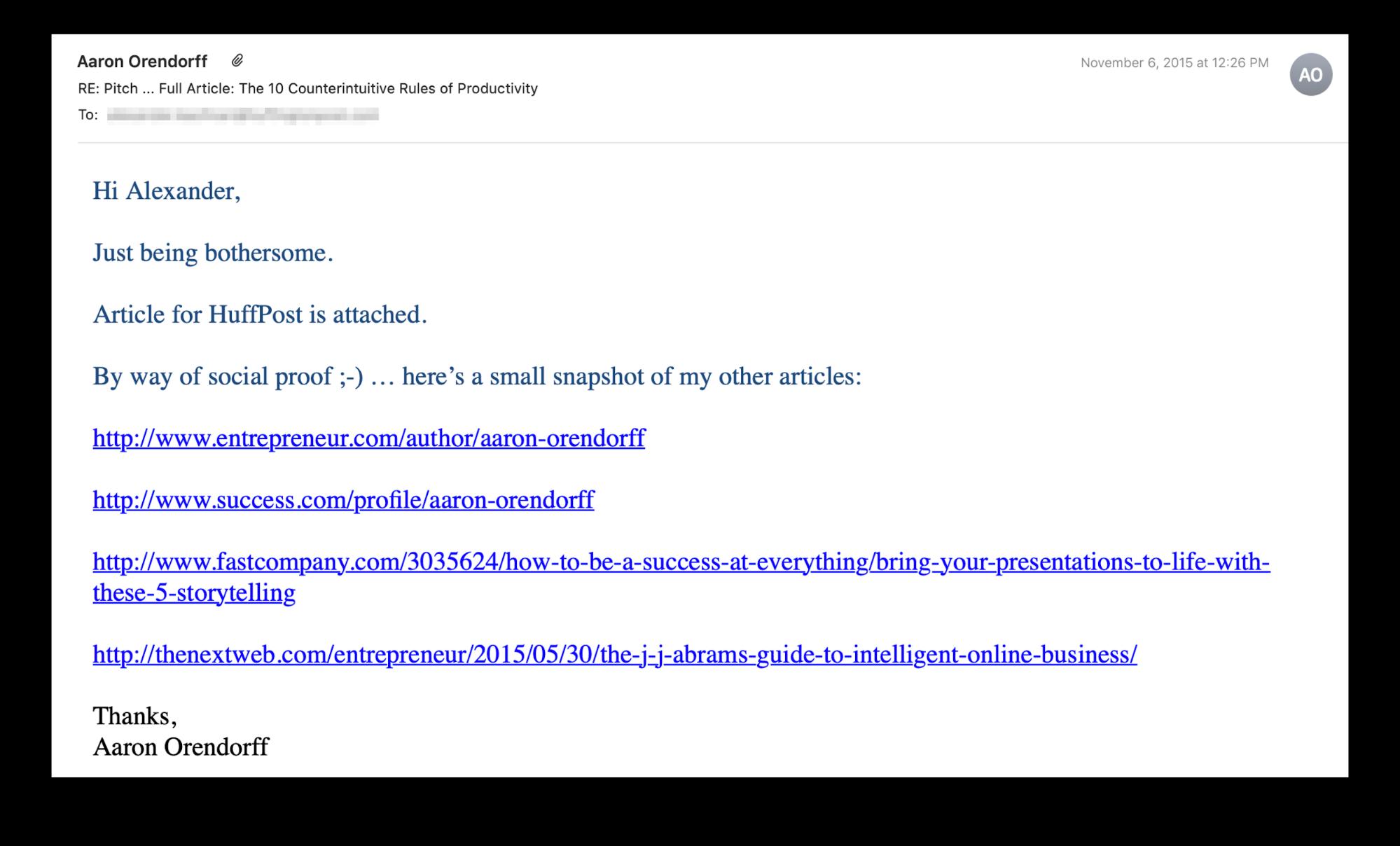 """Email del pitch di invio degli ospiti inviata a un editor presso l'Huffington Post """"class ="""" wp-image-24670 """"srcset ="""" https://megamarketing.it/wp-content/uploads/2019/11/Come-sfondare-come-guest-blogger-anche-se-non-sei-uno-scrittore.png 1999w, https://copyhackers.com/wp-content/uploads/2019/11/email-example-aaron2-150x91.png 150w, https://copyhackers.com/wp-content/uploads/2019/11/email -example-aaron2-300x181.png 300w, https://copyhackers.com/wp-content/uploads/2019/11/email-example-aaron2-768x464.png 768w, https://copyhackers.com/wp-content /uploads/2019/11/email-example-aaron2-800x483.png 800w, https://copyhackers.com/wp-content/uploads/2019/11/email-example-aaron2-990x598.png 990w, https: / /copyhackers.com/wp-content/uploads/2019/11/email-example-aaron2-1320x798.png 1320w """"dimensioni ="""" (larghezza massima: 1999px) 100vw, 1999px"""