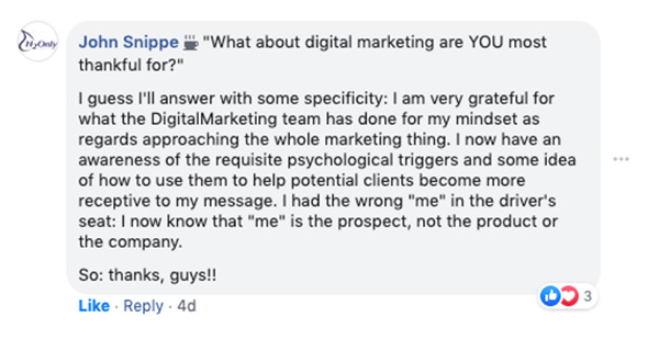 John Snippe scrive di ciò di cui è più grato nel marketing digitale, che è il team DigitalMarketer e l'effetto che hanno avuto sulla sua mentalità