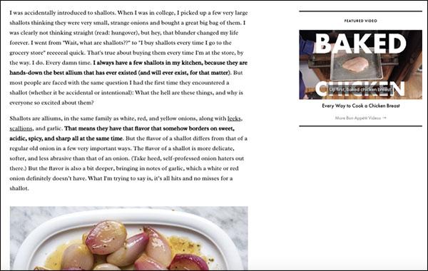 Esempio di una voce di marca nell'articolo di Bon Appétit sugli scalogni