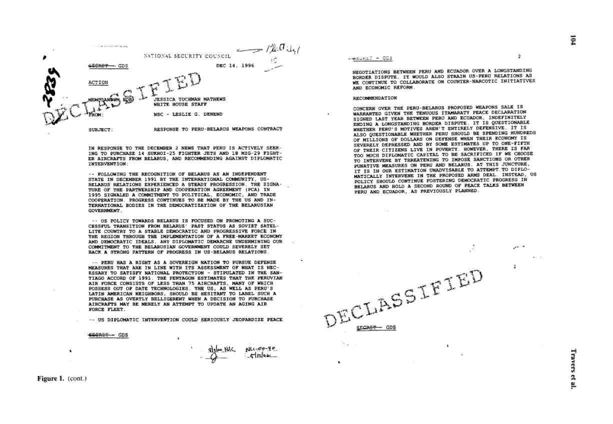documento declassificato utilizzato nello studio dell'effetto del segreto.