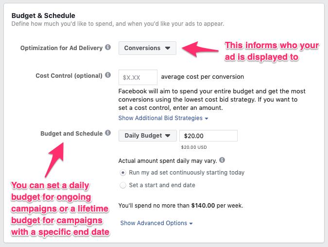 Impostazione del budget degli annunci di Facebook