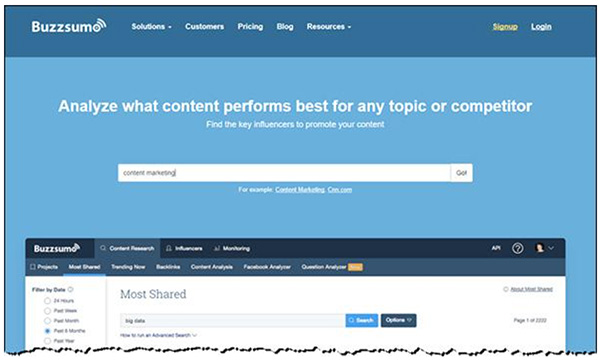 La home page di Buzzsumo con la sua funzione di ricerca per analizzare i contenuti più performanti