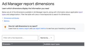 impostazione rapporto di google ad manager